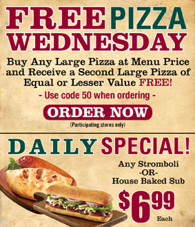 Free Pizza Wednesday & Daily Specials